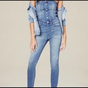 Bebe strapless denim jumpsuit